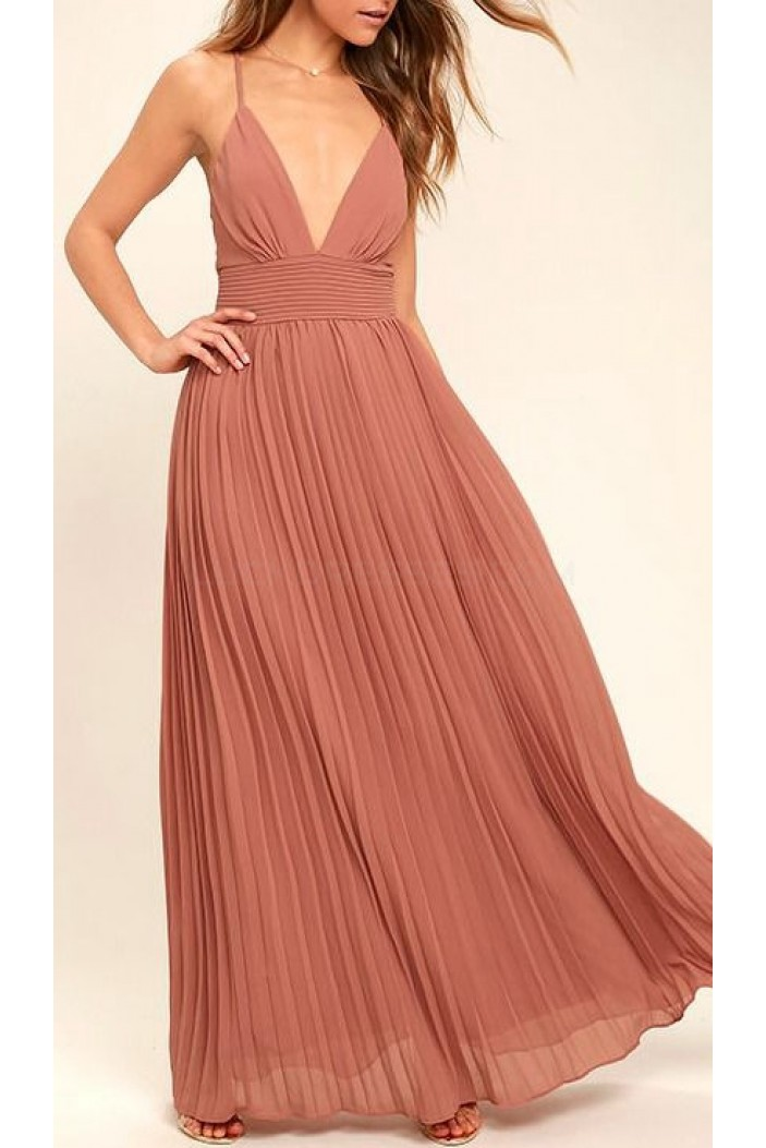 A-Line V-Neck Spaghetti Straps Long Prom Formal Evening Party Dresses 3021045
