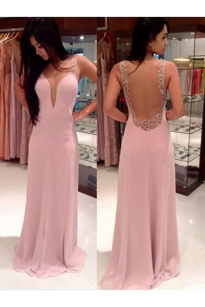 Long Pink Backless Prom Formal Evening Party Dresses 3021046