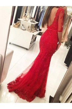 Long Red Beaded Lace Mermaid Prom Formal Evening Party Dresses 3021050