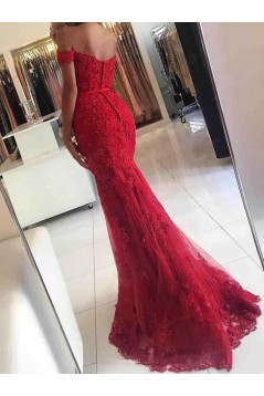 Long Red Beaded Lace Off-the-Shoulder Mermaid Prom Formal Evening Party Dresses 3021051