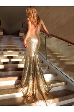 Mermaid Sequins V-Neck Long Prom Formal Evening Party Dresses 3021053
