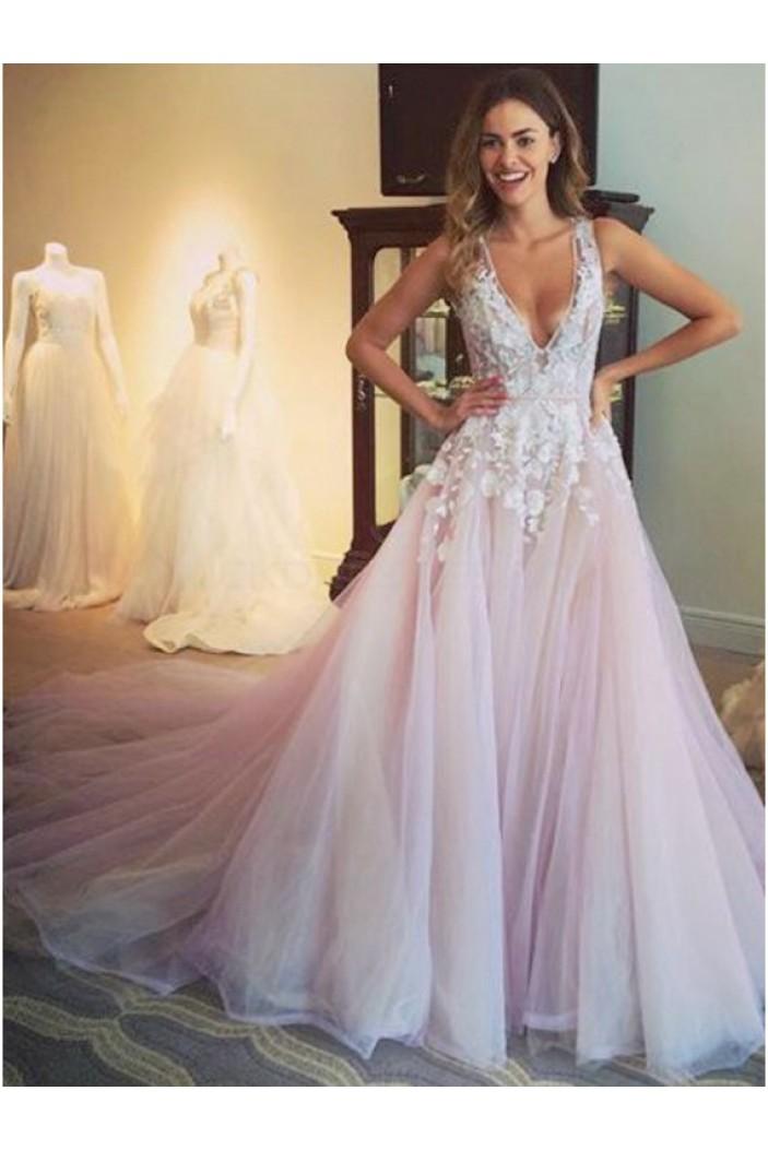 Elegant Lace V-Neck Long Prom Formal Evening Party Dresses 3021054