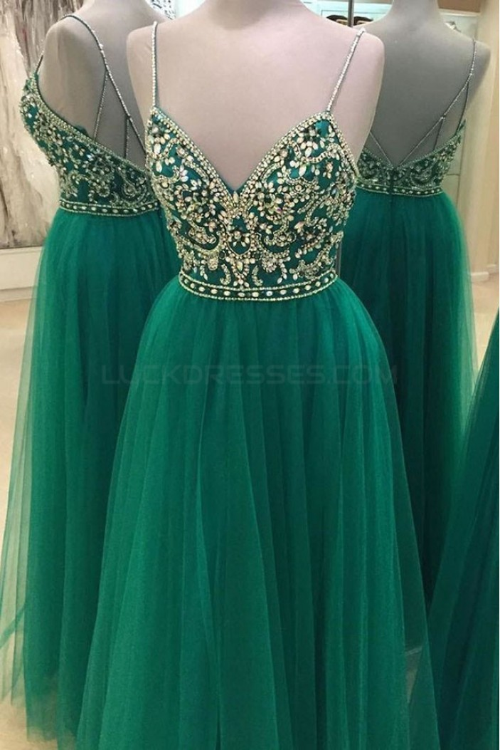 Beaded Long Green Spaghetti Straps Prom Formal Evening Party Dresses 3021055