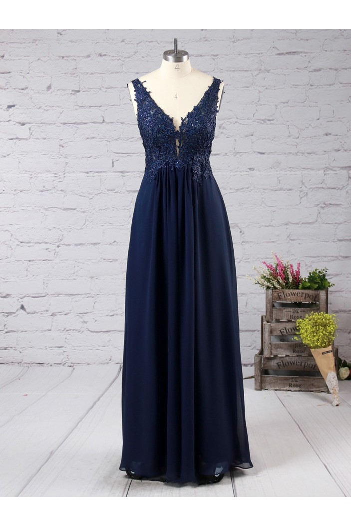 Long Navy Blue Lace Appliques Chiffon Prom Formal Evening Party Dresses 3021059