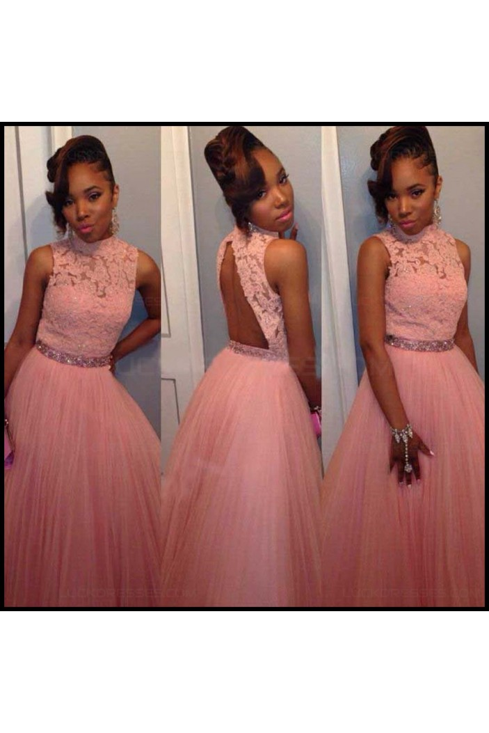 Beaded High Neck Lace Tulle Long Pink Prom Evening Formal Dresses 3020106