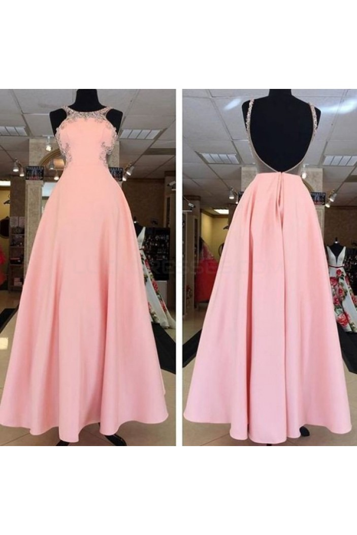 A-Line Long Pink Prom Formal Evening Party Dresses 3021064