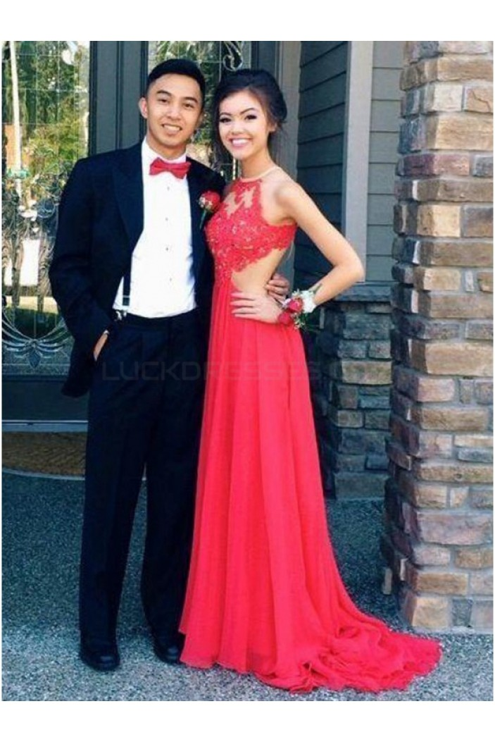Long Red Lace Chiffon Prom Formal Evening Party Dresses 3021065