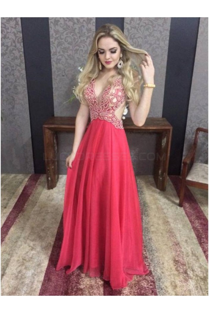 Long Red V-Neck Prom Formal Evening Party Dresses 3021066