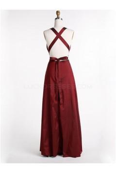 Long V-Neck Burgundy Prom Formal Evening Party Dresses 3021067