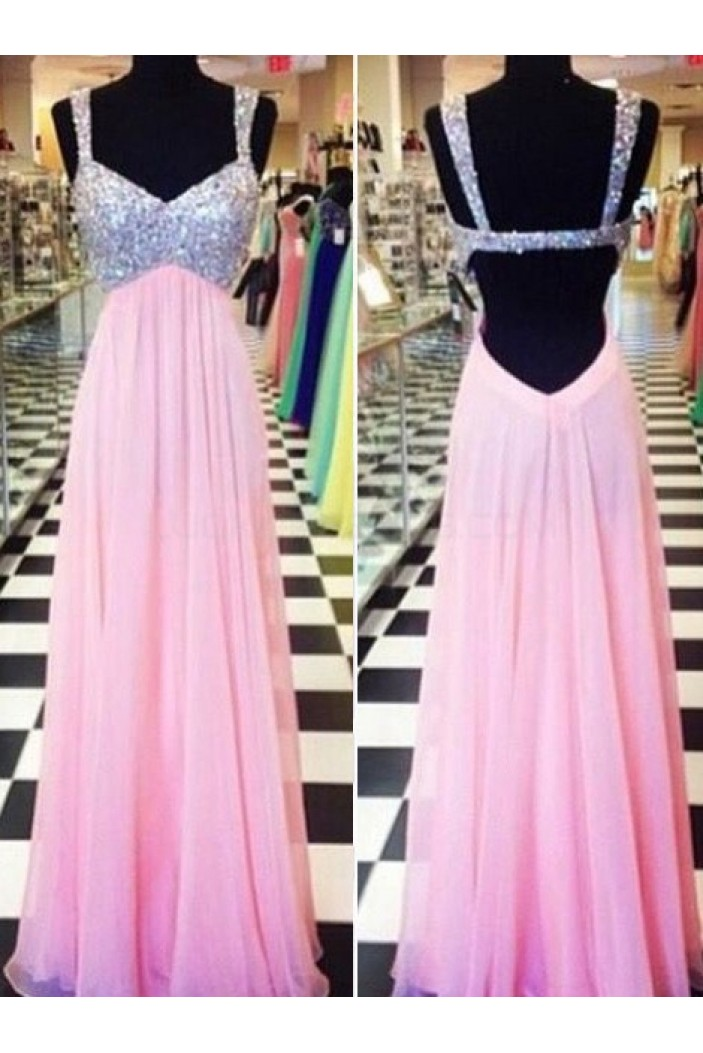 Beaded Long Pink Chiffon Prom Formal Evening Party Dresses 3021073