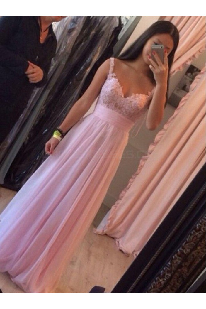 Long Pink Lace Appliques Chiffon Prom Formal Evening Party Dresses 3021074