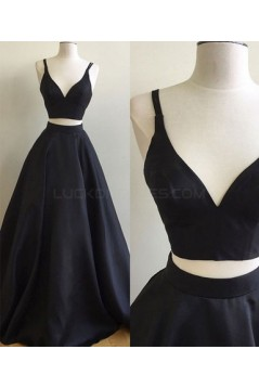 Two Pieces V-Neck Long Prom Formal Evening Party Dresses 3021075