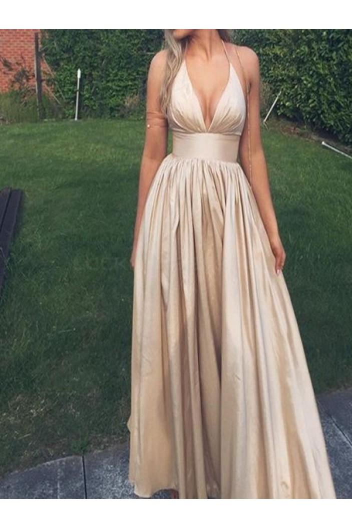 A-Line Deep V-Neck Long Prom Formal Evening Party Dresses 3021079