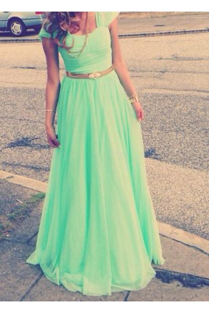 Cap-Sleeves Long Green Chiffon Prom Evening Formal Dresses 3020108