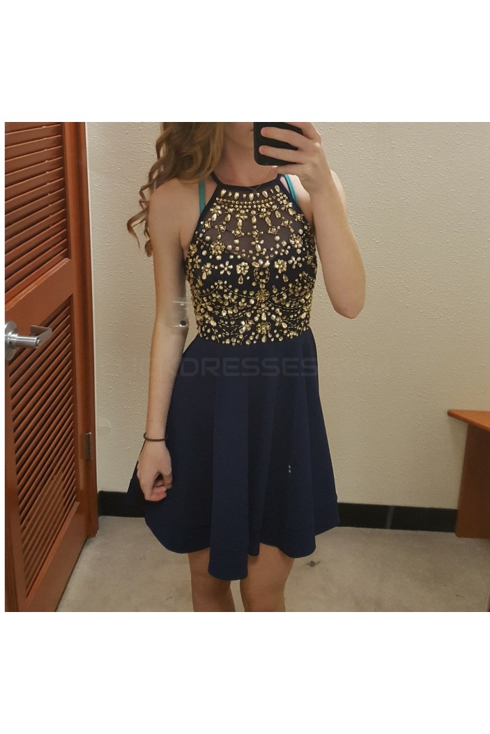 A-Line Beaded Prom Homecoming Cocktail Graduation Dresses 3021081