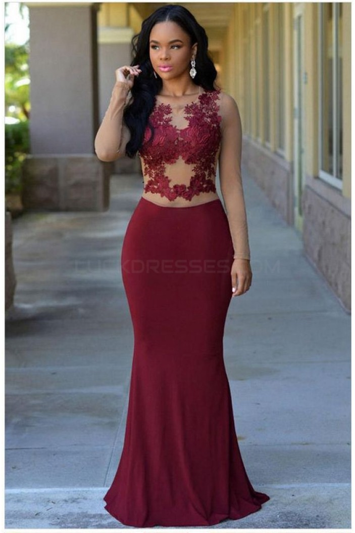 Mermaid Burgundy Lace Long Prom Formal Evening Party Dresses 3021083