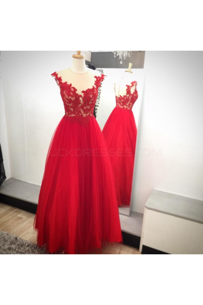 Long Red Lace Appliques Prom Formal Evening Party Dresses 3021084