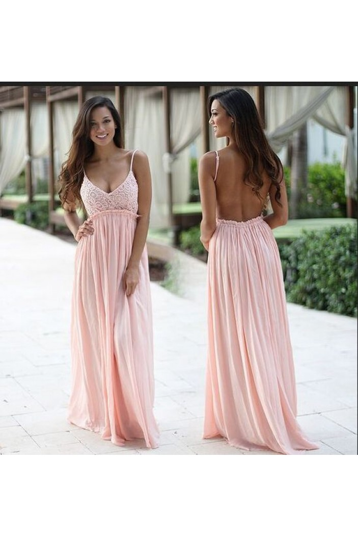 Empire Long Lace Chiffon Pink Prom Formal Evening Party Maternity Dresses 3021085