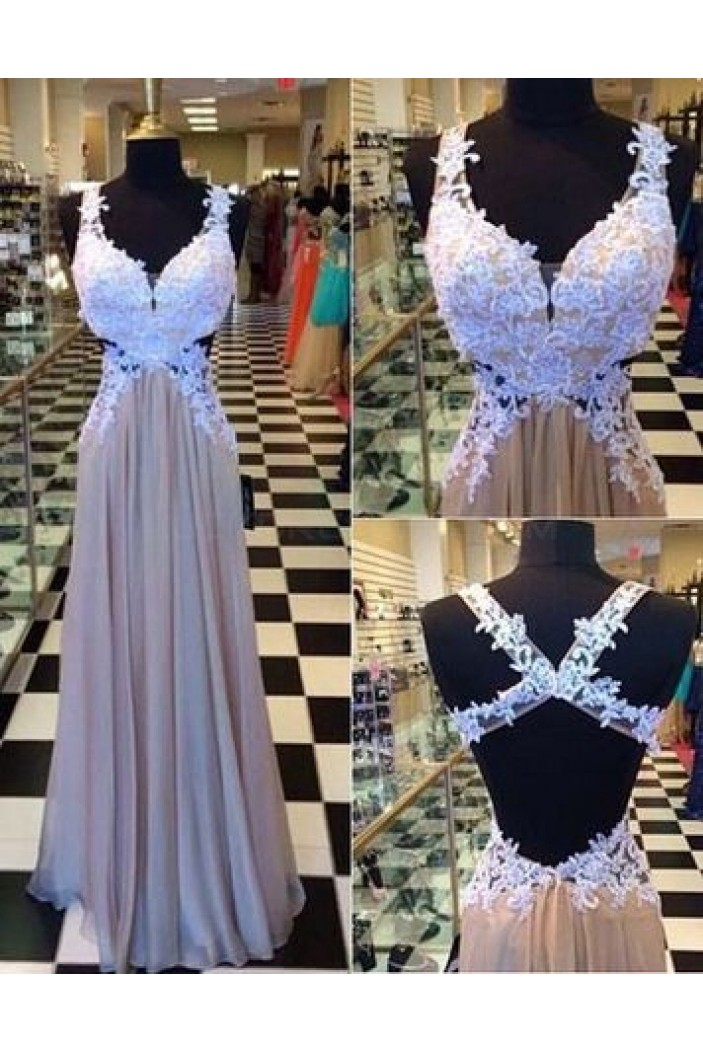 Long Chiffon Lace Appliques Prom Formal Evening Party Dresses 3021087