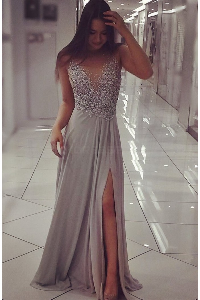 Grey Chiffon Sparkly Beaded Prom Formal Evening Party Dresses with Slit 3021088