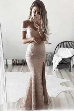 Classic Lace Mermaid Off-the-Shoulder Long Prom Formal Evening Party Dresses 3021090
