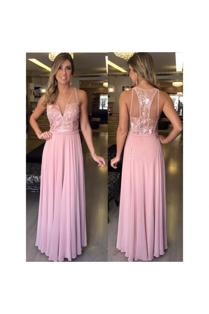 Long Pink Lace and Chiffon Prom Formal Evening Party Dresses 3021093