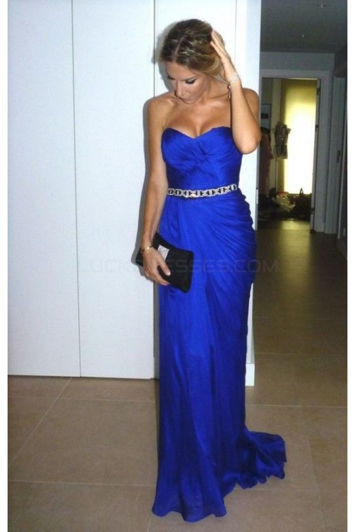 Long Blue Beaded Prom Formal Evening Party Dresses 3021098