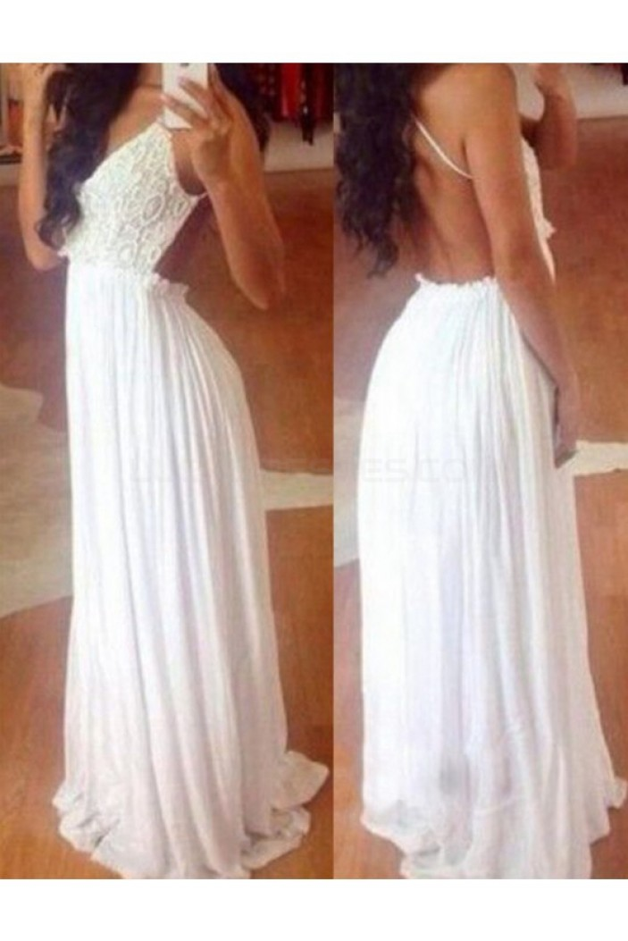 Long White Chiffon Lace Prom Formal Evening Party Dresses 3021099
