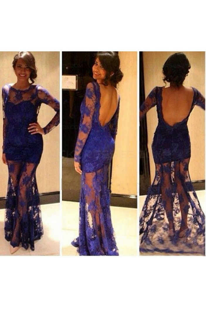 Long Sleeves Low V-Back See Through Royal Blue Lace Appliques Prom Evening Formal Dresses 3020110