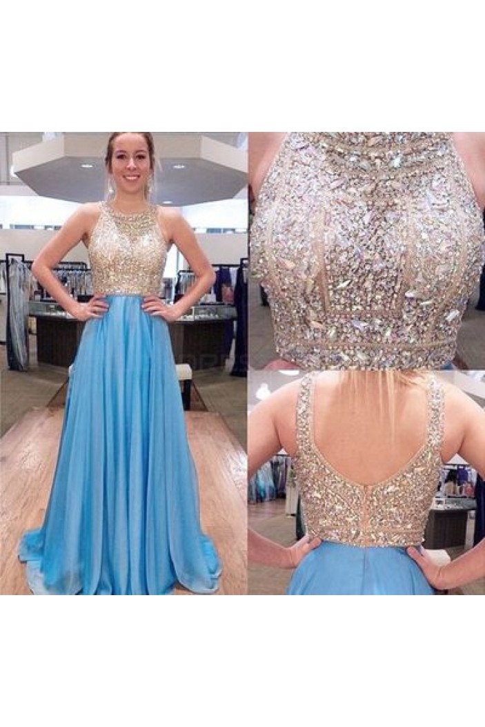 Beaded Long Blue Prom Formal Evening Party Dresses 3021104