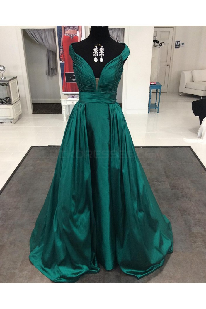 Long Green V-Neck Prom Formal Evening Party Dresses 3021110