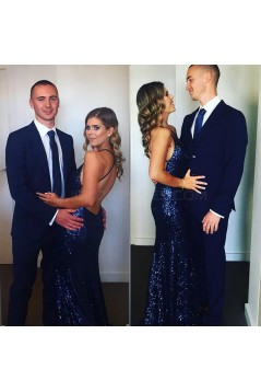 Long Blue Mermaid Sequins V-Neck Prom Formal Evening Party Dresses 3021111
