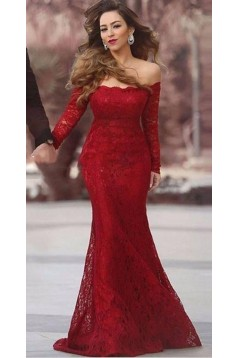 Long Sleeves Mermaid Off-the-Shoulder Lace Prom Formal Evening Party Dresses 3021112