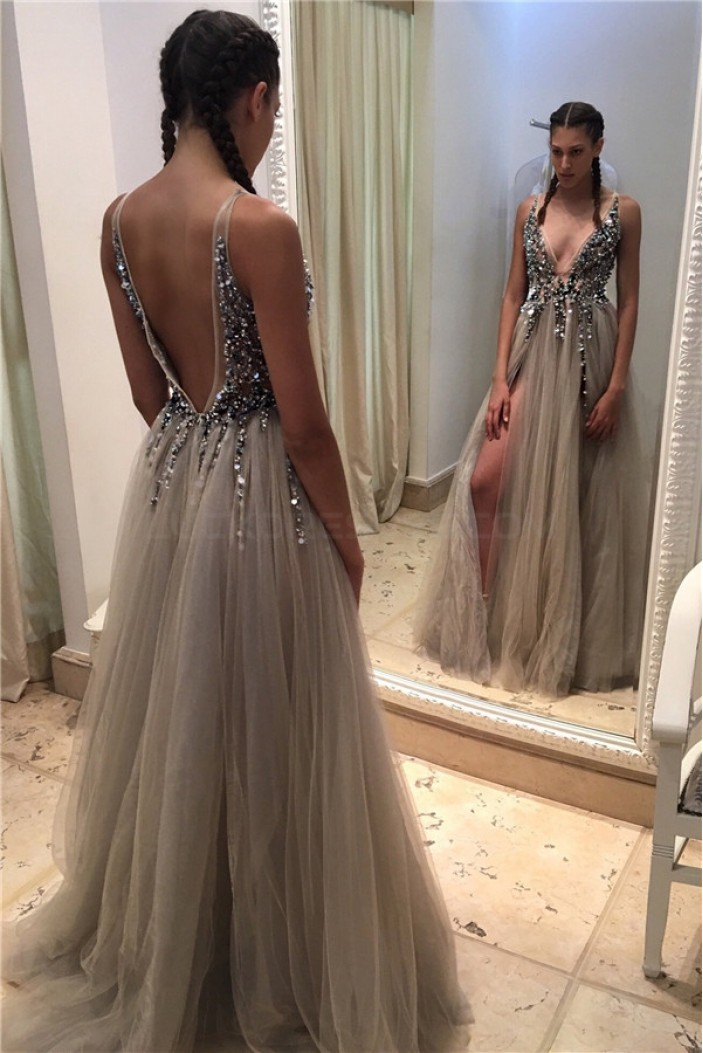 Sexy V-Neck Beaded Long Prom Formal Evening Party Dresses 3021118