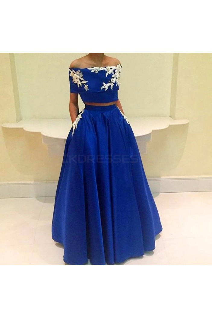 Two Pieces Off-the-Shoulder Long Blue Prom Formal Evening Party Dresses 3021119