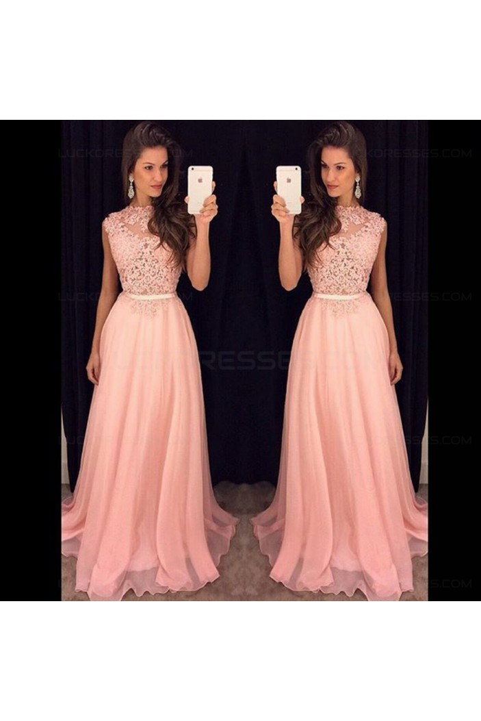 A-Line Long Pink Lace Chiffon Prom Evening Formal Dresses 3020112