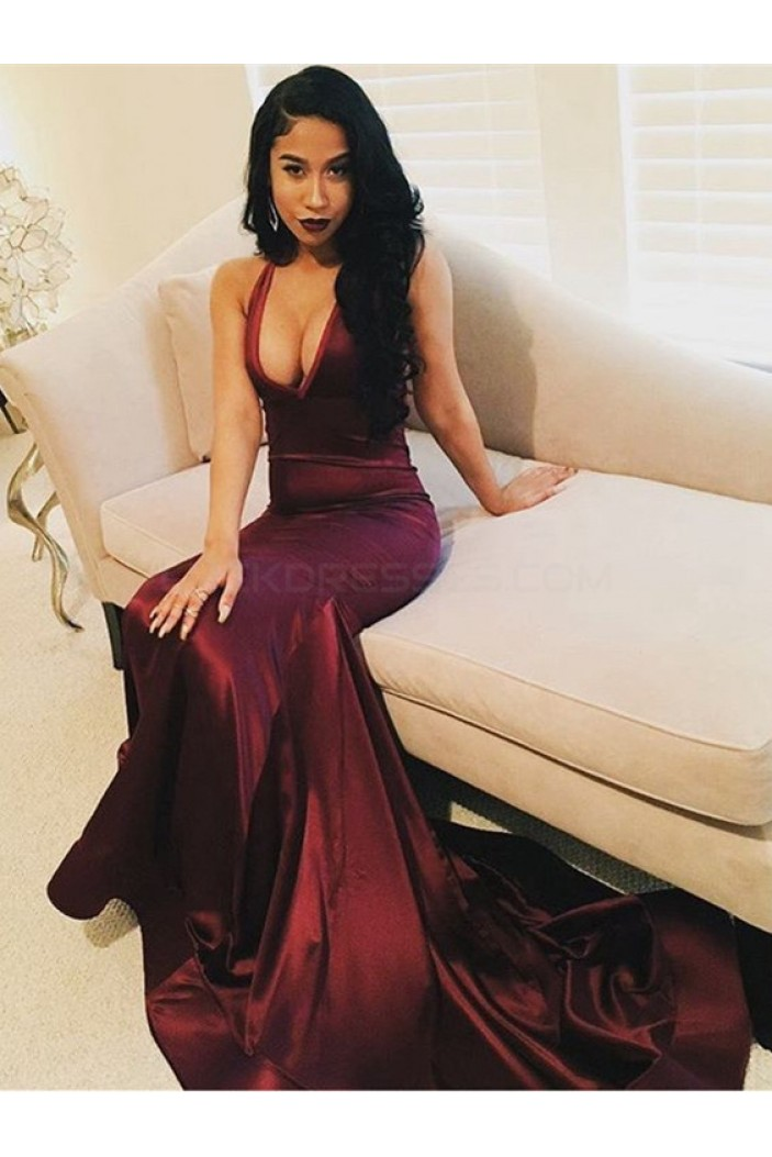 Sexy Mermaid V-Neck Burgundy Long Prom Formal Evening Party Dresses 3021121
