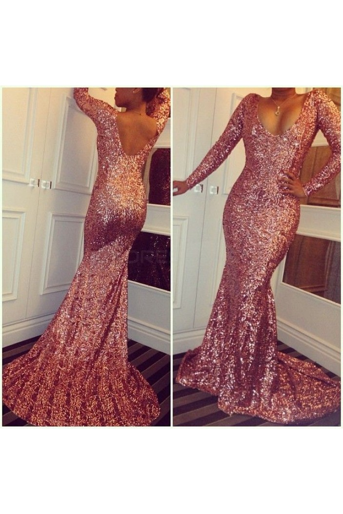Mermaid Sequins Long Sleeves Prom Formal Evening Party Dresses 3021126