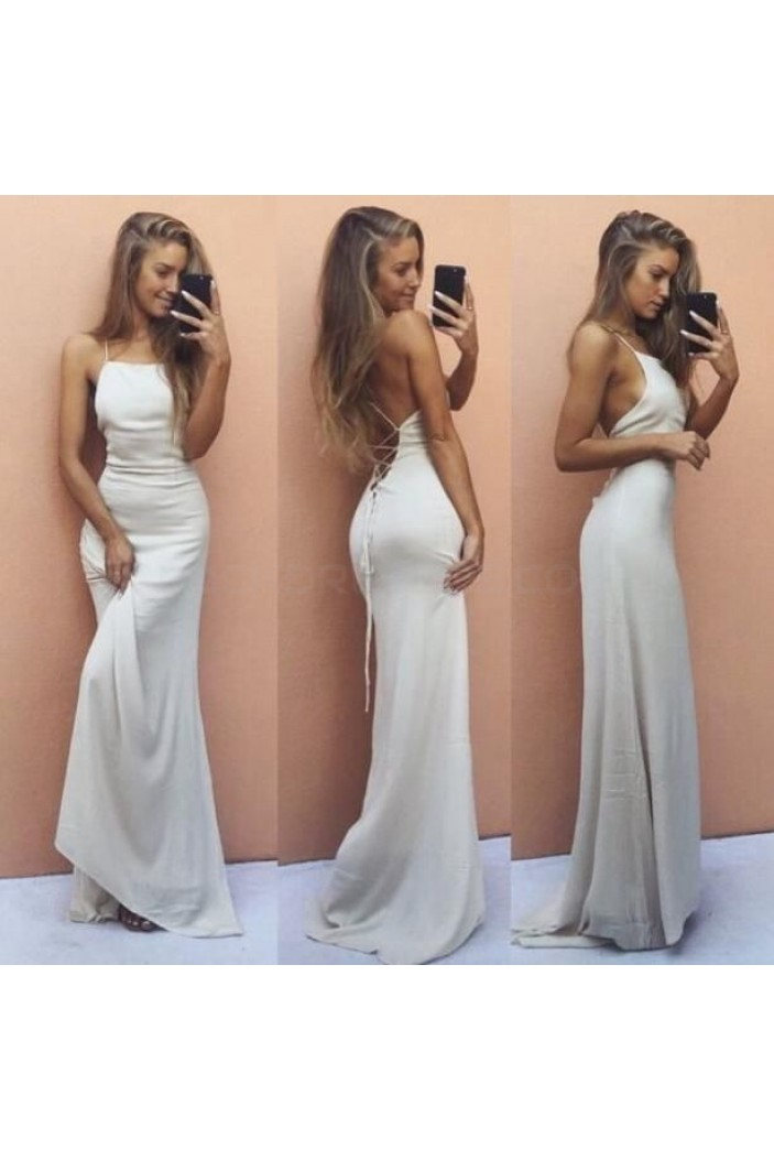Long White Spaghetti Straps Prom Formal Evening Party Dresses 3021131