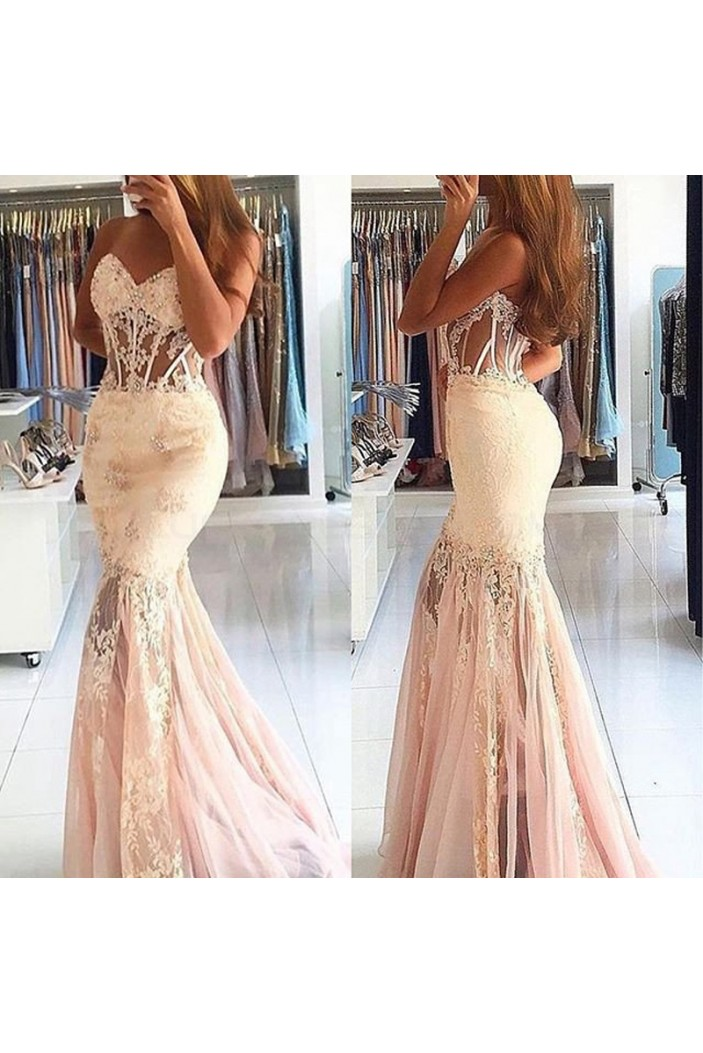 Mermai Lace Long Sweetheart Prom Formal Evening Party Dresses 3021134