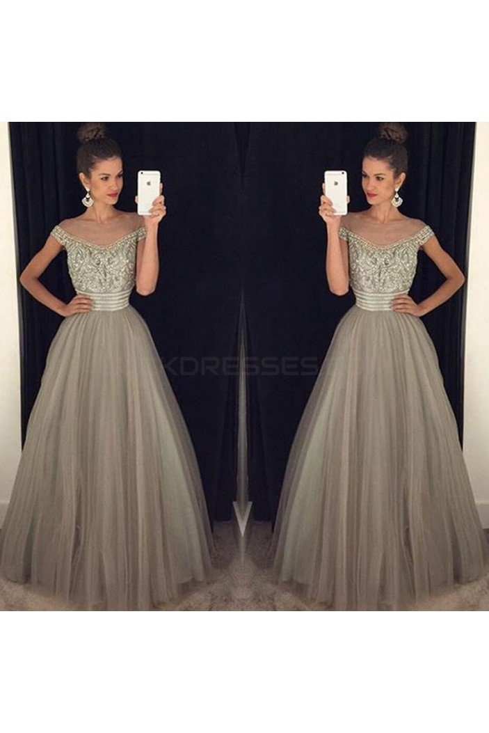 Beaded Off-the-Shoulder Tulle Ball Gown Prom Formal Evening Party Dresses 3021136