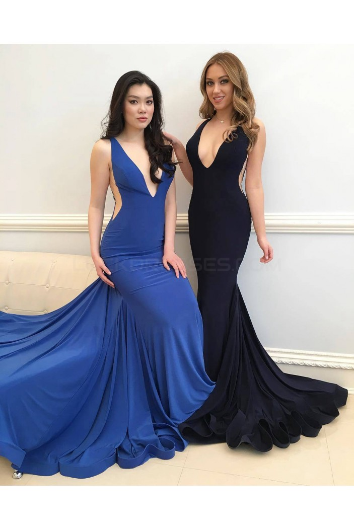 Mermaid V-Neck Long Prom Formal Evening Party Dresses 3021139