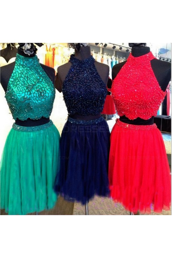 Beaded Two Pieces High Neck Short Prom Evening Cocktail Homecoming Dresses 3020114