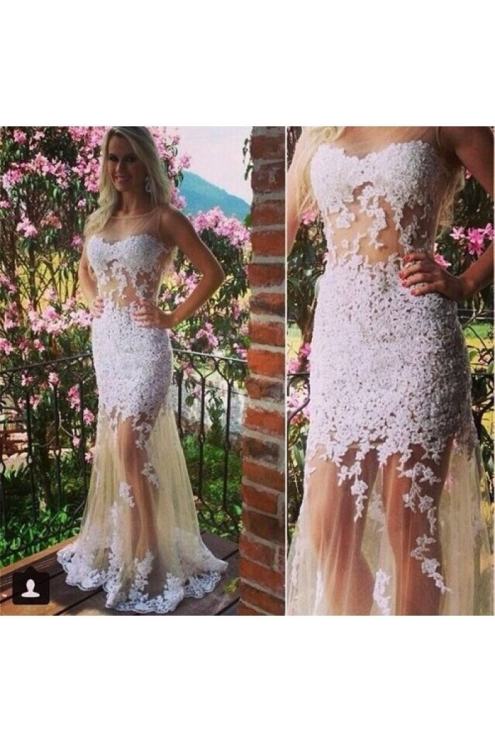 Lace Appliques Long Prom Formal Evening Party Dresses 3021140