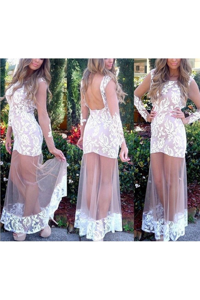 Long White Lace Prom Formal Evening Party Dresses 3021141