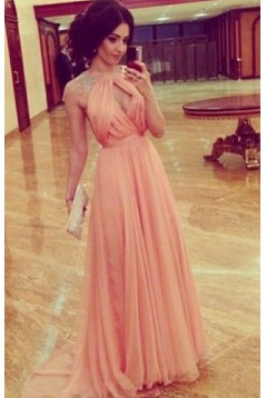 A-Line Cap Sleeves Beaded Long Chiffon Prom Formal Evening Party Dresses 3021142