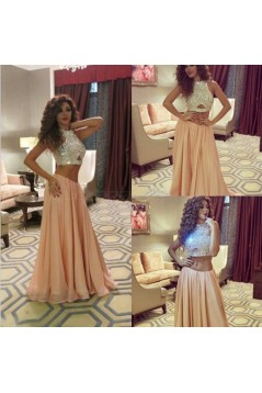 Two Pieces Beaded Long Prom Formal Evening Party Dresses 3021143