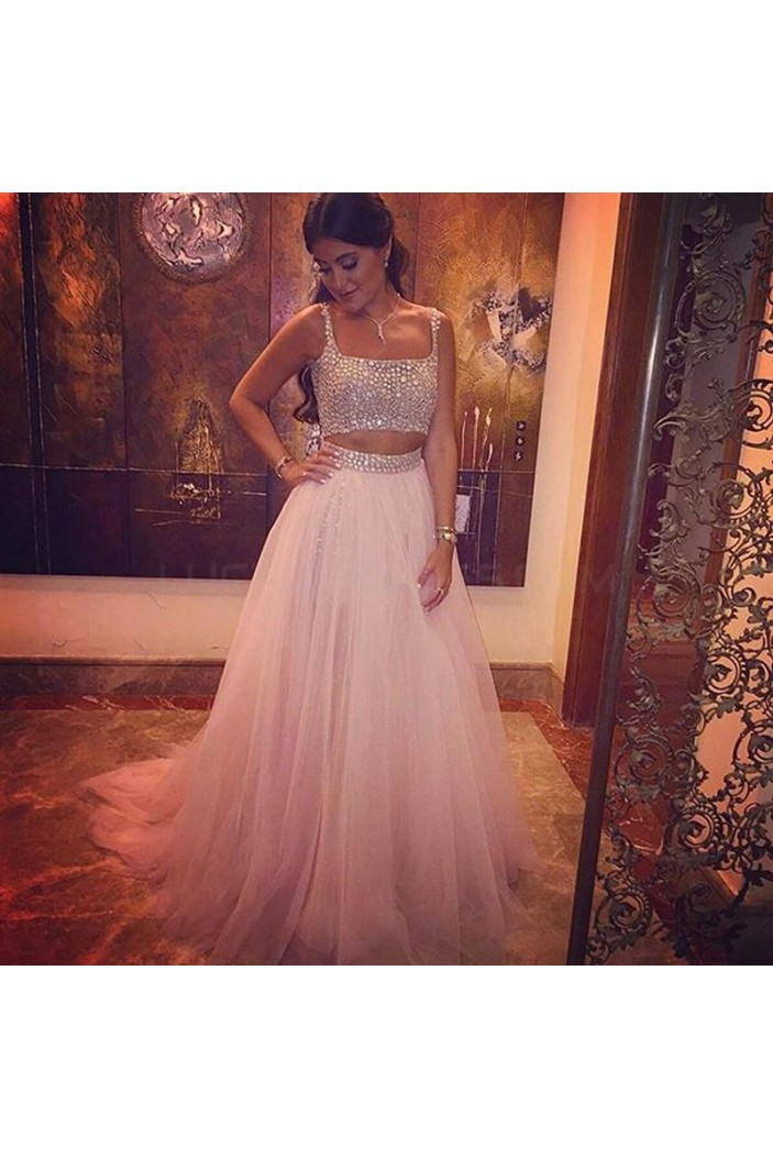Two Pieces Beaded Long Prom Formal Evening Party Dresses 3021144