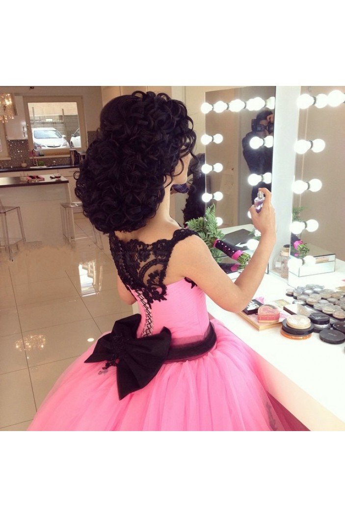Pink Black Lace Ball Gown Prom Formal Evening Party Dresses 3021146