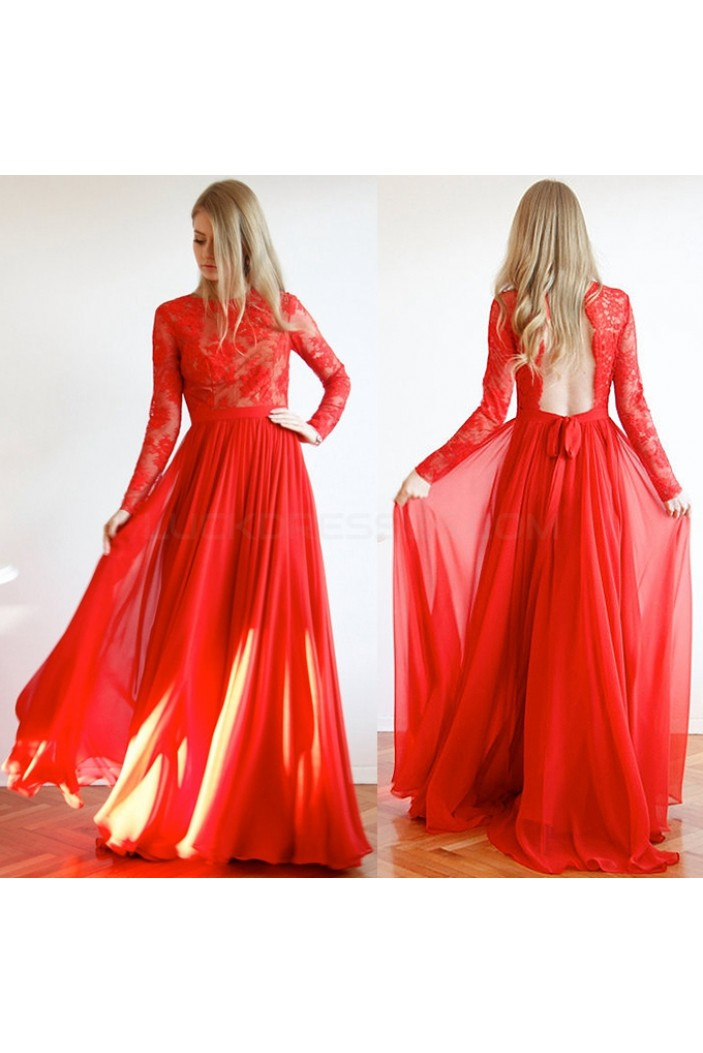 Long Red Lace and Chiffon Prom Formal Evening Party Dresses 3021148